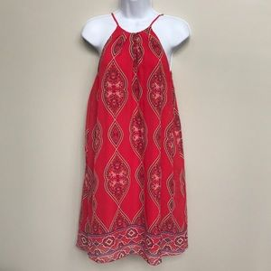 High neck paisley dress